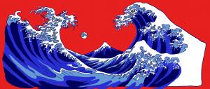 Hokusai-inspired mural